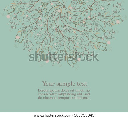 Abstract doodle flower with your text raster version, vector is available.