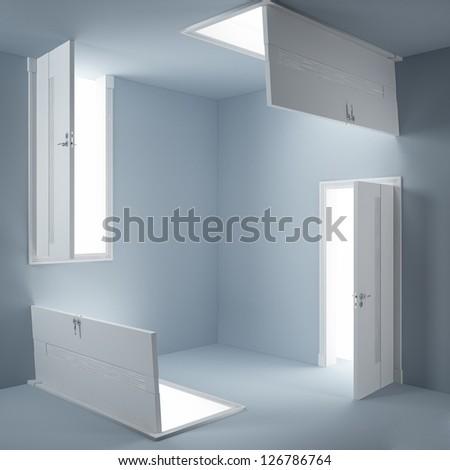 Abstract doors - stock photo