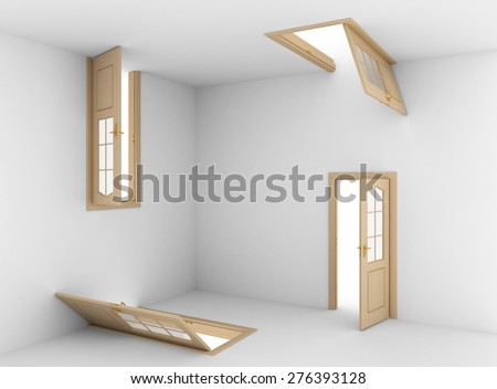 Abstract doors on the all walls. Right choice concept. - stock photo