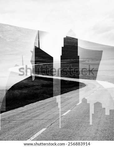 abstract double exposure man silhouette, city building silhouette, and long road, black and white  - stock photo