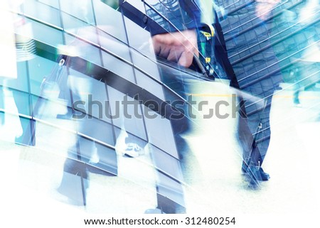 Abstract double exposure of businessman and office buildings, rush hours concept - stock photo