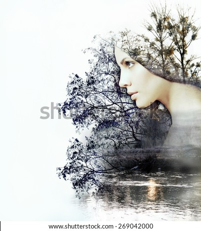 abstract double exposure of woman and beauty of nature at the sunset on the river, abstract concept - stock photo