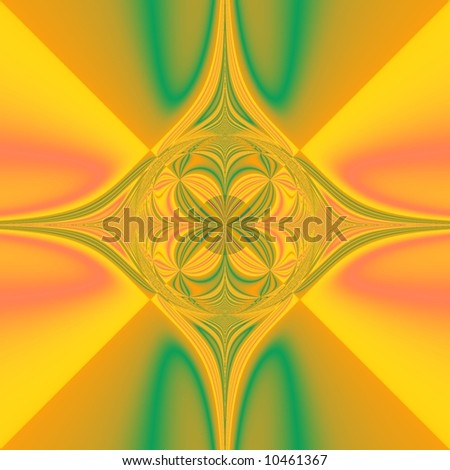 abstract drawing in yellow ,green and red colors