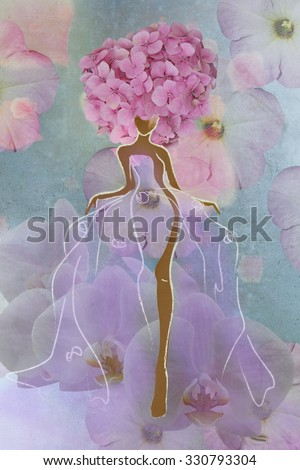 Abstract drawing of a woman in a flower orchids  dress  and floral hat. Fashion, bride, wedding, color rose quartz, lilac, , peach, coral, blue, trendy stylish texture spring summer - stock photo