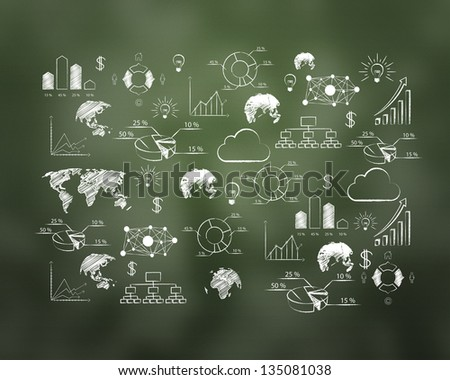 abstract drawing plan strategy success on green board - stock photo