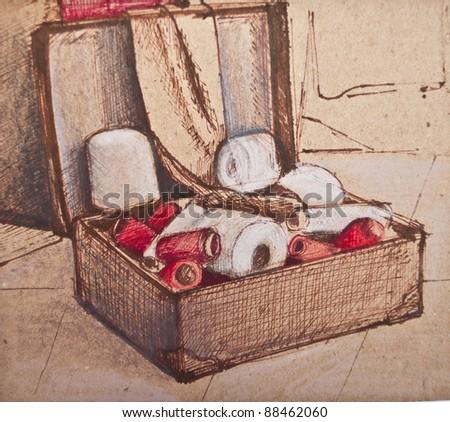 Abstract drawing - Still life art - stock photo