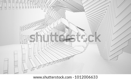 Abstract drawing white parametric interior  with window. Polygon black drawing. 3D illustration and rendering.