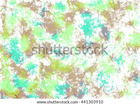 Abstract drawn watercolor crumpled bright background with brushstrokes in green and brown colors. Gorizontal artistic creative banner. Series of Watercolor, Oil, Pastel, Chalk and Inc Backgrounds. - stock photo