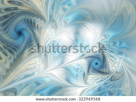 Abstract dynamic background in blue, grey and white color. Futuristic template for creative graphic design. Cold soft texture. Fractal art - stock photo