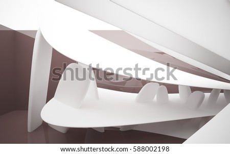 Abstract dynamic brown interior with white smoth objects . 3D illustration and rendering