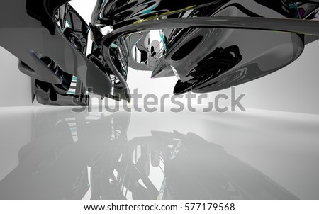 Abstract dynamic interior with black smooth objects and colored gradient glass lines . 3D illustration and rendering