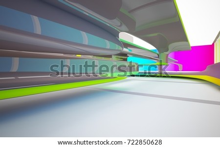 Abstract dynamic interior with colored gradient smooth objects and brown room . 3D illustration and rendering