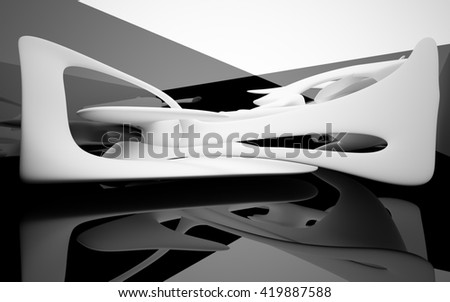 Abstract dynamic interior with white opaque objects. 3D illustration. 3D rendering