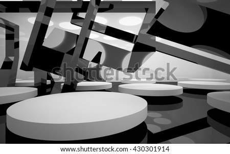 Abstract dynamic interior with white round objects. 3D illustration. 3D rendering
