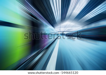Abstract dynamic transportation blue background. Radial motion blur effect. - stock photo