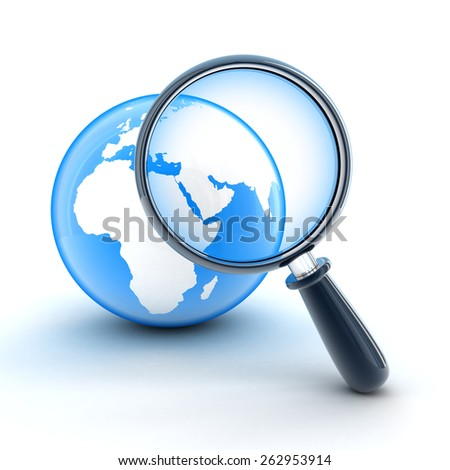 Abstract earth and lens of search is in the system  (done in 3d)   - stock photo