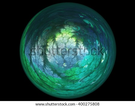 Abstract earth day themed fractal, digital artwork for creative graphic design - stock photo