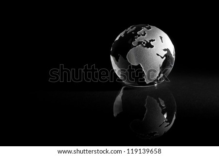 Abstract earth globe with reflection - stock photo