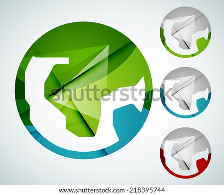 Abstract Earth logo design made of color pieces - various geometric shapes - stock photo
