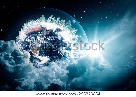 Abstract Earth view in the cloudy skies. NASA imagery used - stock photo