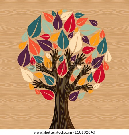 Abstract eco friendly diversity tree hands illustration. - stock photo
