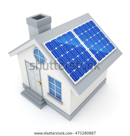 Abstract Ecological small home and solar panel (done in 3d rendering)