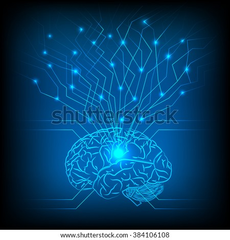 Abstract electric circuit brain,tecnology network - stock photo