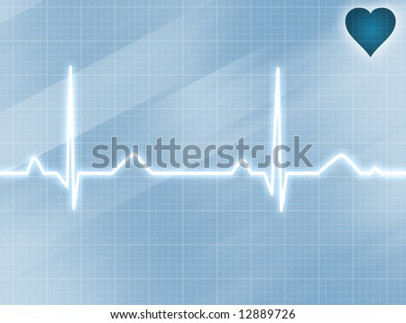 Abstract electrocardiogram track of human heart