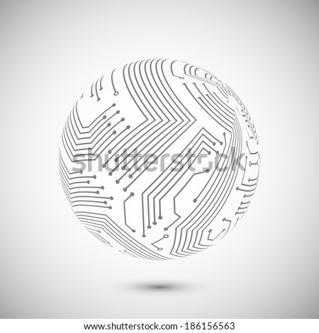 Abstract electronic devices or computer circuits global network sphere emblem poster  illustration
