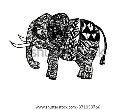 Mehndi Elephant Coloring Pages : Abstract elephant indian style mehndi cartoon stock illustration