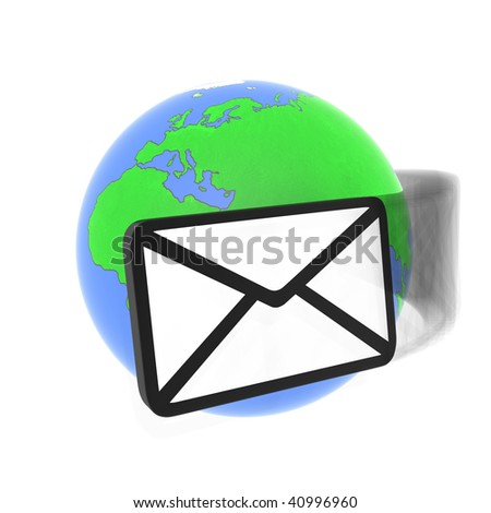 Abstract email and earth (done in 3d) - stock photo