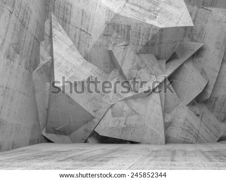 Abstract empty concrete 3d interior with chaotic polygonal relief pattern on the wall - stock photo