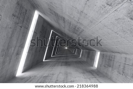 Abstract empty concrete interior, 3d render of pitched tunnel perspective  - stock photo