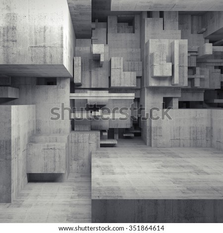 Abstract empty concrete interior with chaotic cubes constructions, high-tech concept, digital square 3d illustration - stock photo
