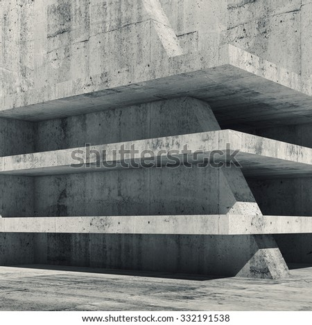 Abstract empty concrete interior with floors construction, 3d render illustration - stock photo