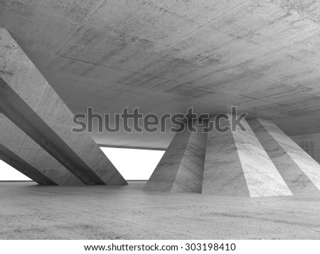 Abstract empty concrete interior with inclined columns and window, 3d render illustration - stock photo