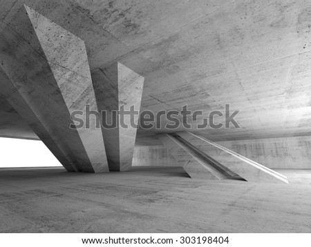 Abstract empty concrete room interior with inclined columns and window, 3d render illustration - stock photo