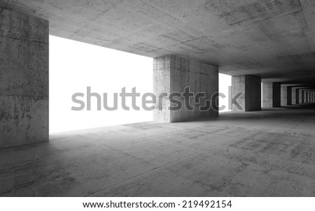 Abstract empty 3d interior with concrete columns and white glowing windows - stock photo