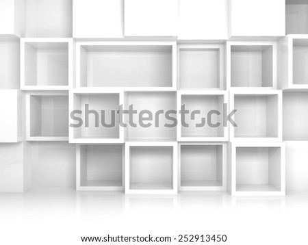 Abstract empty 3d interior with white square shelves on the wall, front view