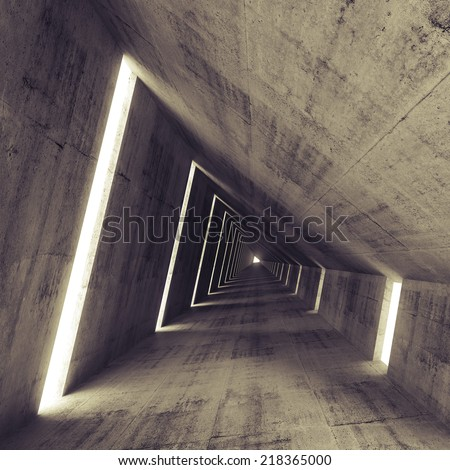 Abstract empty dark concrete interior, 3d render of tunnel with toned effect - stock photo