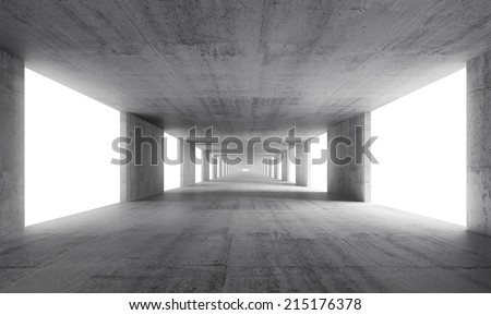 Abstract empty gray concrete interior background, 3d render - stock photo