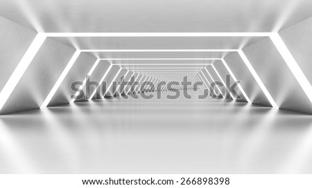 Abstract empty illuminated white shining bent corridor interior, 3d render illustration - stock photo