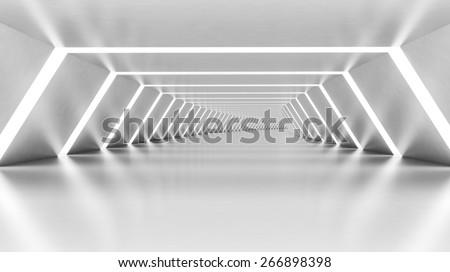 Abstract empty illuminated white shining bent corridor interior, 3d render illustration - stock photo