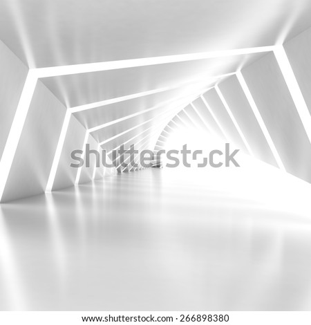 Abstract empty illuminated white shining bent corridor interior, 3d render illustration, square composition - stock photo