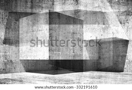 Abstract empty interior background with chaotic structures and concrete texture, 3d illustration - stock photo