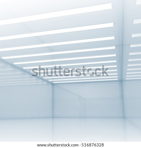 Abstract empty interior with decorative ceiling neon lights, contemporary minimal open space design template, blue square 3d illustration