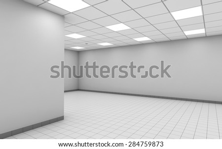 abstract empty office room interior with white walls ceiling lights and floor tiling 3d ceiling office