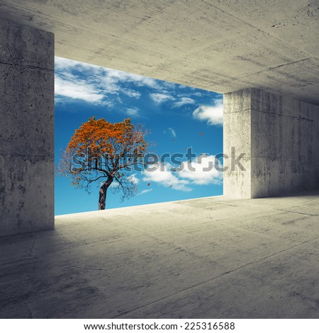 Abstract empty room 3d interior with concrete walls and autumnal red tree in the window - stock photo
