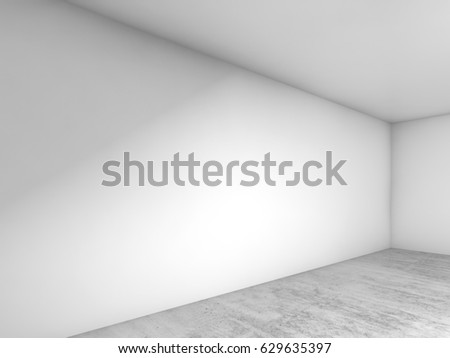 Abstract empty room interior background, corner of white walls and concrete floor, contemporary architecture design. 3d illustration