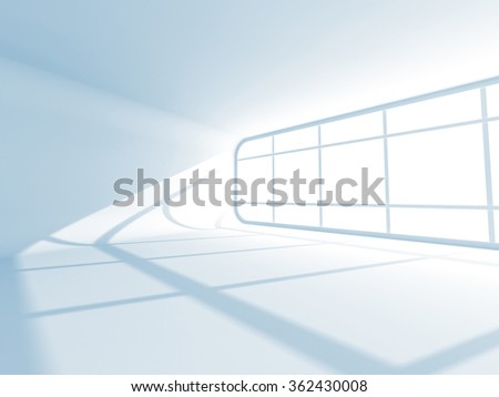 Abstract Empty Room Interior Background With Window. 3d Render Illustration - stock photo